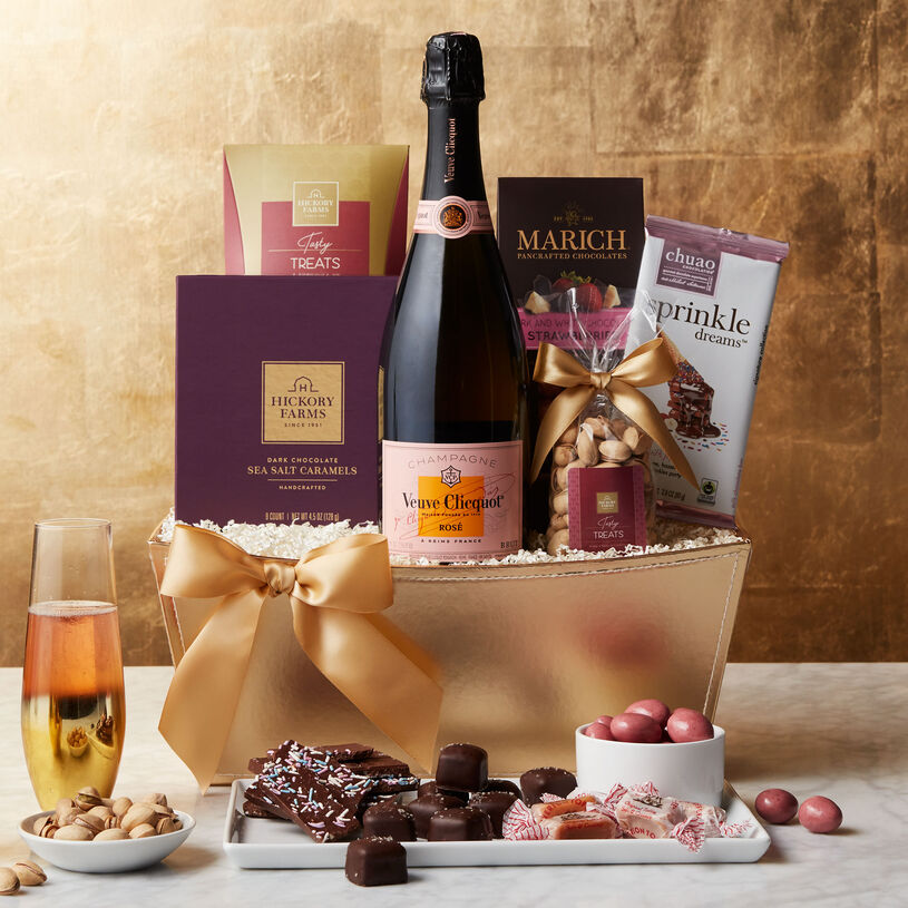 Veuve Clicquot Brut Rose Champagne is deliciously paired with decadent sweets in this beautiful gift basket.