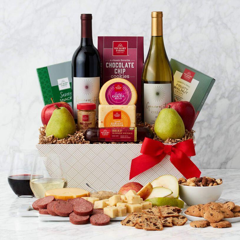 Deluxe Fruit & Wine Gift Basket Alternate View Light Background