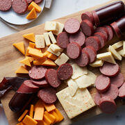 Alternate view of Cheese Sausage Lovers Box which includes summer sausage, various cheese, and crackers