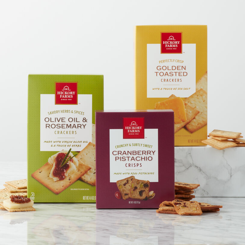This flight includes herbed Olive Oil & Rosemary Crackers, classic Golden Toasted Crackers, and sweet and salty Cranberry Pistachio Crisps.