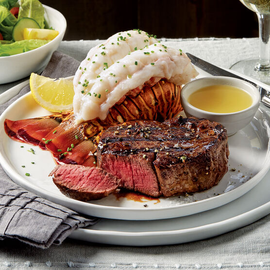 Filet mignon steaks and lobster tails
