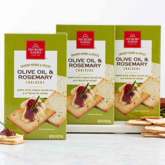 Flavorful but not overpowering, these Olive Oil & Rosemary Crackers are a light and tasty compliment to all of our signature savory flavors.