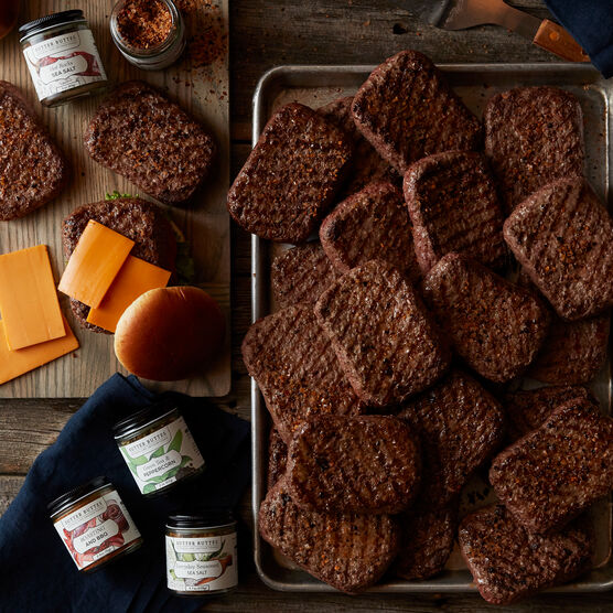 This set includes twenty-four of our delicious Prime Burgers that Dad can customize using four gourmet seasonings from Sutter Buttes.