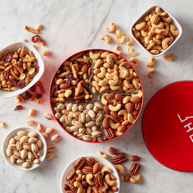 Roasted Sea Salted Mixed Nuts, Salt & Pepper Cashews, Cranberry & Sesame Nut Mix, and In-Shell Pistachios