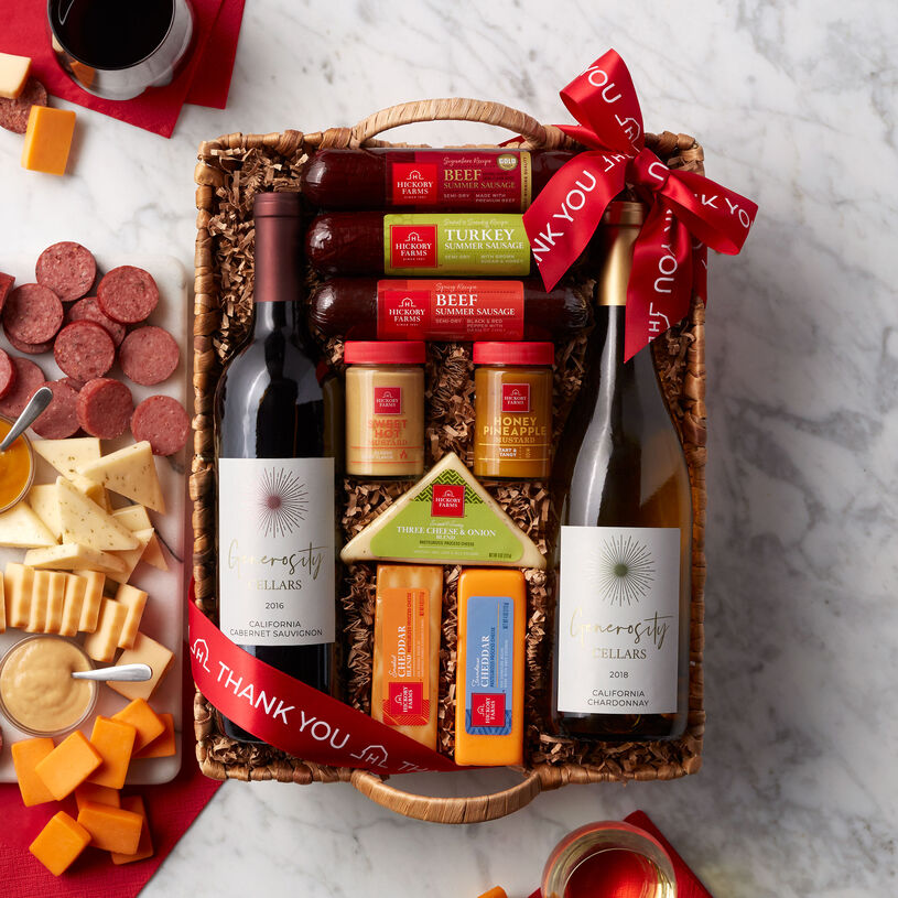 Thank You Hearty Bites & Wine Gift Basket
