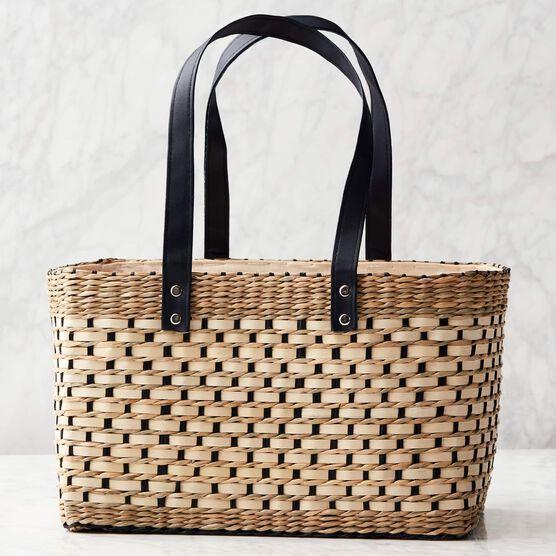 Deluxe Gourmet Picnic Gift Basket - Basket - Tan with Black Handles