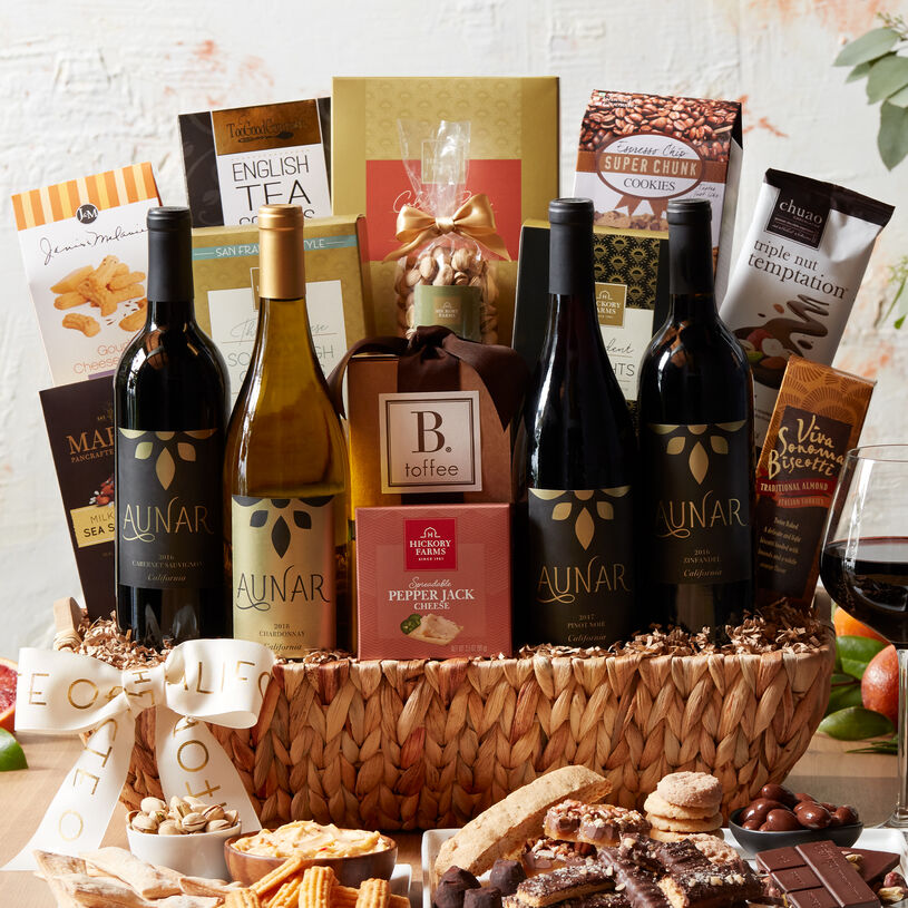 This impressive gift includes savory bites and plenty of California-sourced sweets and four bottles of Aunar California wines.