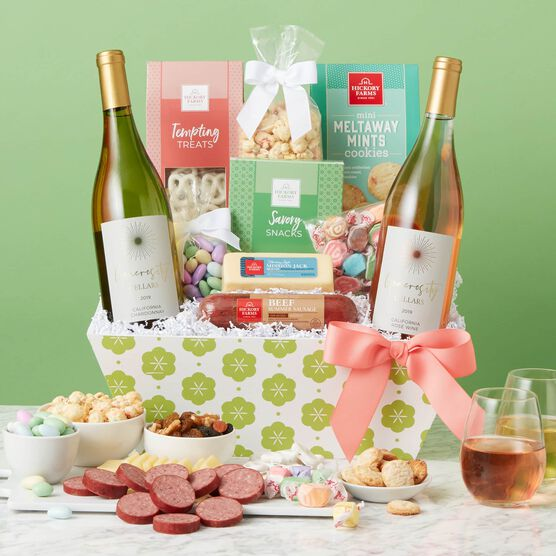 Spring Premium Treats and Wine Gift Basket Green Backdrop
