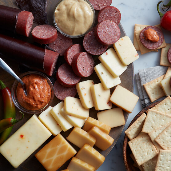 Alternate view of Hot & Spicy Gift Box which includes summer sausage, mustard, cheese, and crackers