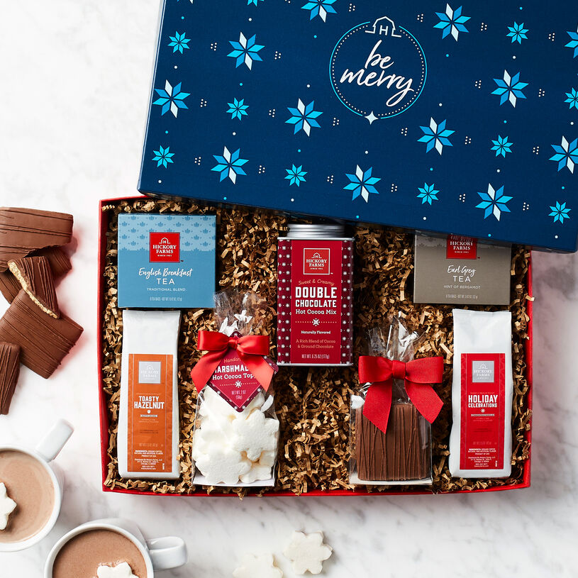 It includes lots of delicious picks to brew up hot mugs of tea, coffee, and cocoa, plus sweet Marshmallow Hot Cocoa Toppers and Chocolate Covered Grahams for dunking.