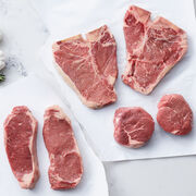 Our Gourmet Assortment Steak Gift Box is perfect for the meat connoisseur. Our aged New York strip steak, Filet Mignon and Porterhouse steaks have been naturally aged up to 21 days and will cook to perfection.