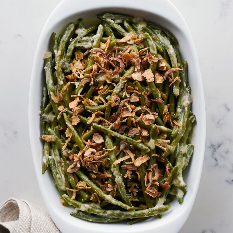 Crisp green beans, mushrooms, and onions coated with Gruyere cheese, butter, and milk for an extra creamy casserole.