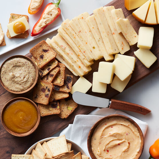 Alternate view of a sampling of our cheeses, mustards, and cranberry pistachio crisps