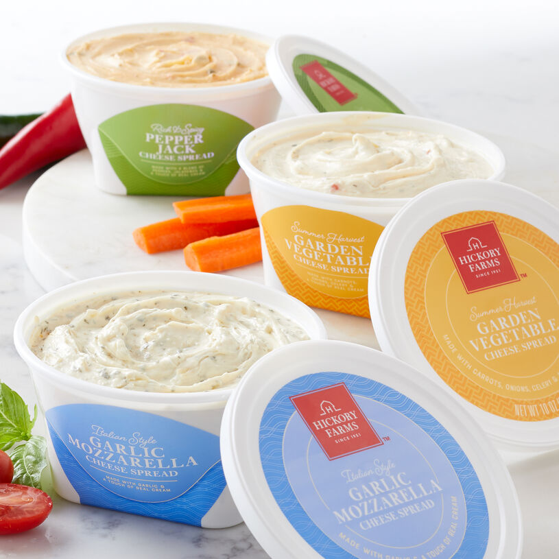 From mild to bold, this flight includes flavors every palate will love. You'll get one each of Garlic Mozzarella Spread, Garden Vegetable Spread, and Pepper Jack Spread so you can try all three.