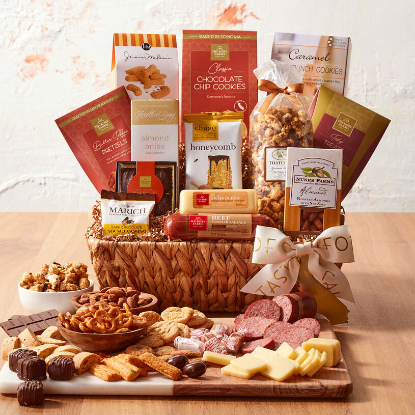 This basket contains all natural beef summer sausage, creamy cheese, and tasty California sweets.