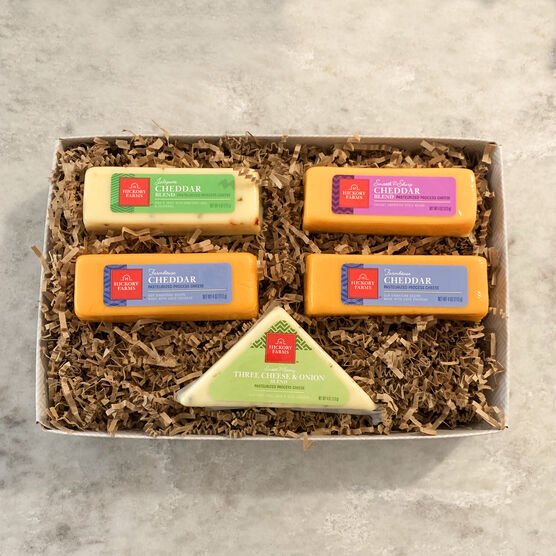 This cheese gift box is filled with four of our most loved flavors!