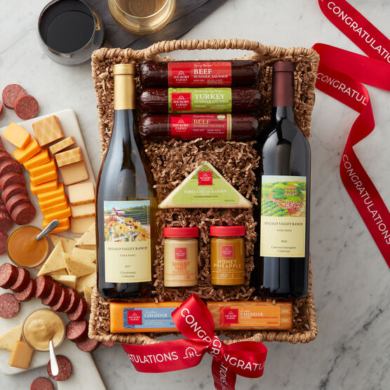 This selection of gourmet meat and cheese includes our three classic summer sausages: Signature Beef