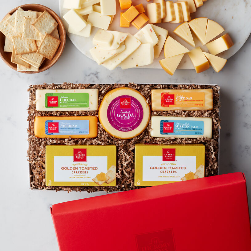 Cheese Favorites Gift Box includes crackers and various cheeses