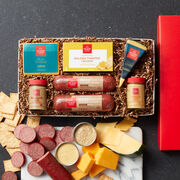 Gift box includes all natural summer sausage, mustard, cheeses, and crackers