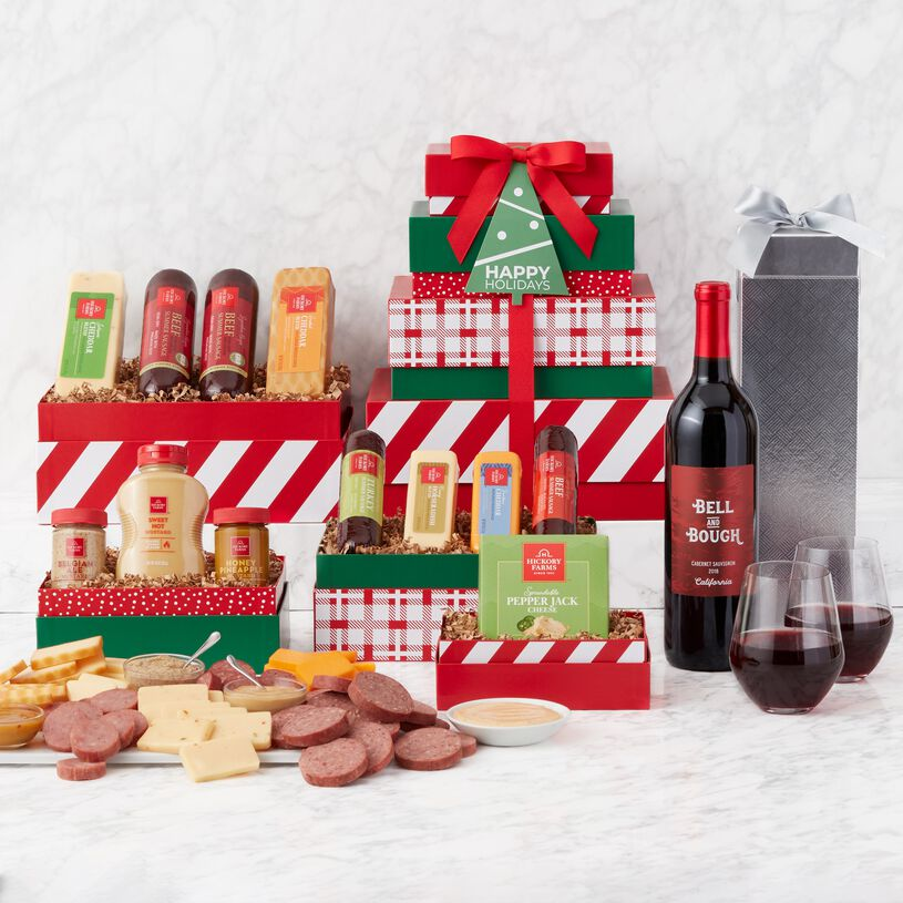 Holiday Gourmet Meat & Cheese Gift Tower with Wine