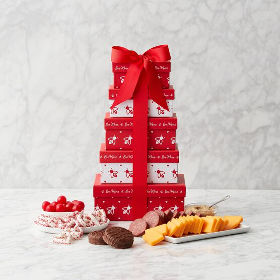Valentine's Day Sweet & Savory Gift Tower - Tower View