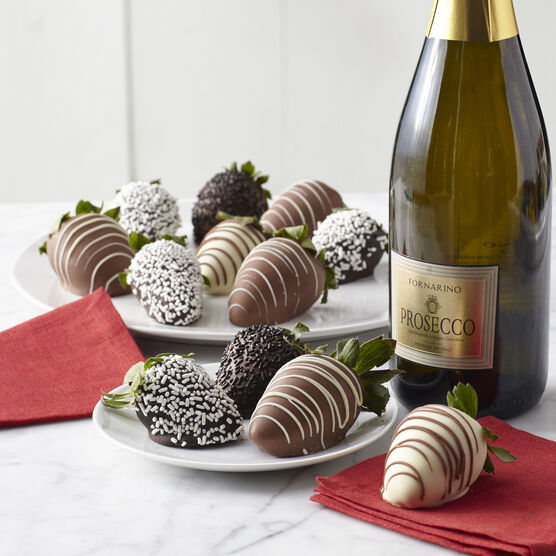 12 ct strawberries dipped in dark, milk, and white chocolate with a bottle of La Fornarina Prosecco