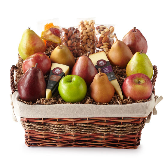 Fresh from the Farm Gift Basket includes various cheeses, nuts, and fruit