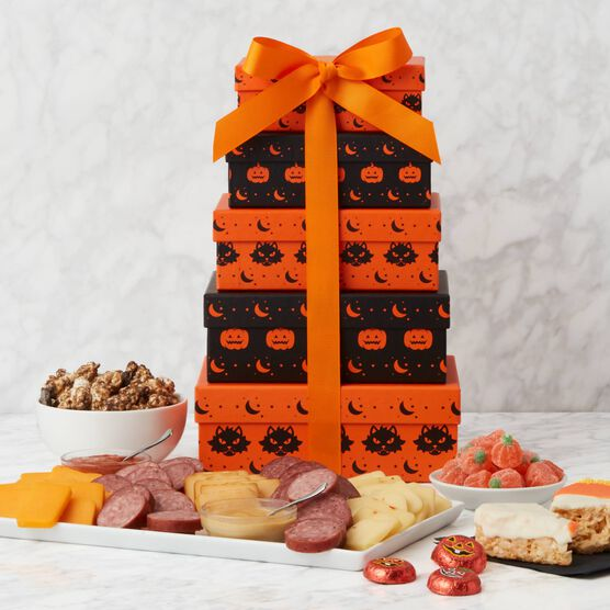 Spooky Snacks Halloween Gift Tower Tower and Items