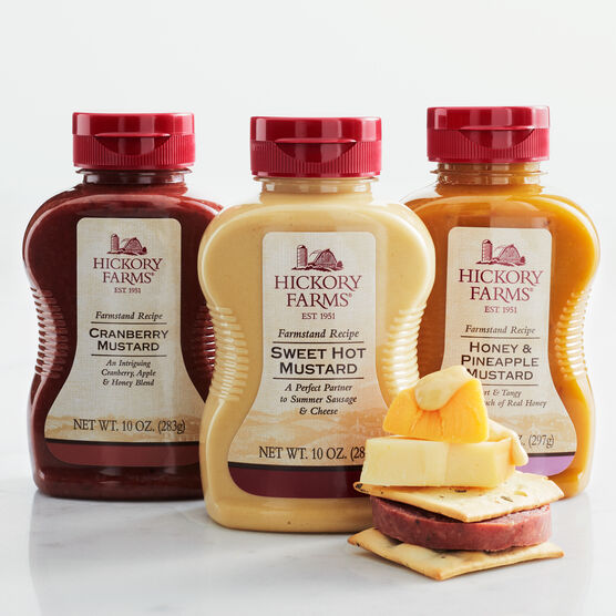 mustard flight includes cranberry, honey & pineapple, and sweet hot mustard
