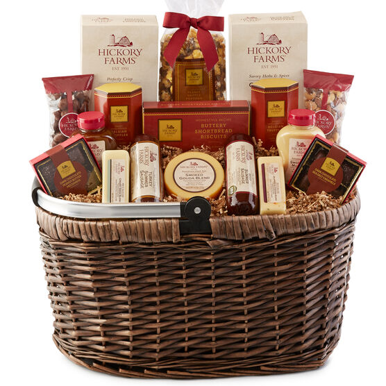 Hickory Farms Market Basket includes sausage, cheese, mustard, crackers, nuts, and biscuits