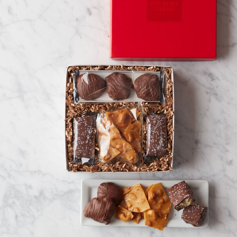 Indulge in delicious Cashew Brittle, Chocolate Caramel Pecan Clusters, and Chocolate Dipped Marshmallow Rice Treats.