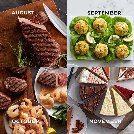 Alternate View of Grand Steakhouse Favorites - 12 Month Plan - Steak, Shrimp, Crab Cakes, Cheesecake