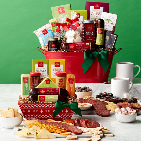Happy Holidays Signature Flavors Gift Basket Charcuterie and Contents
