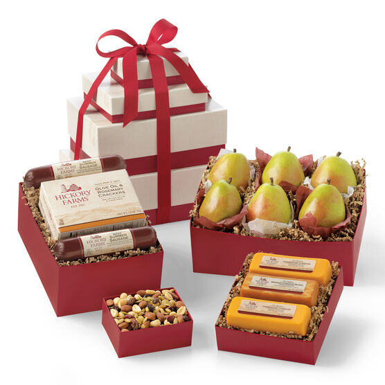 Fruitful Gift Tower includes sausage, cheese, crackers, mixed nuts, and pears