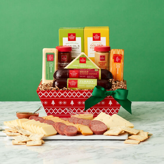 Happy Holidays Signature Flavors Gift Basket Green Background