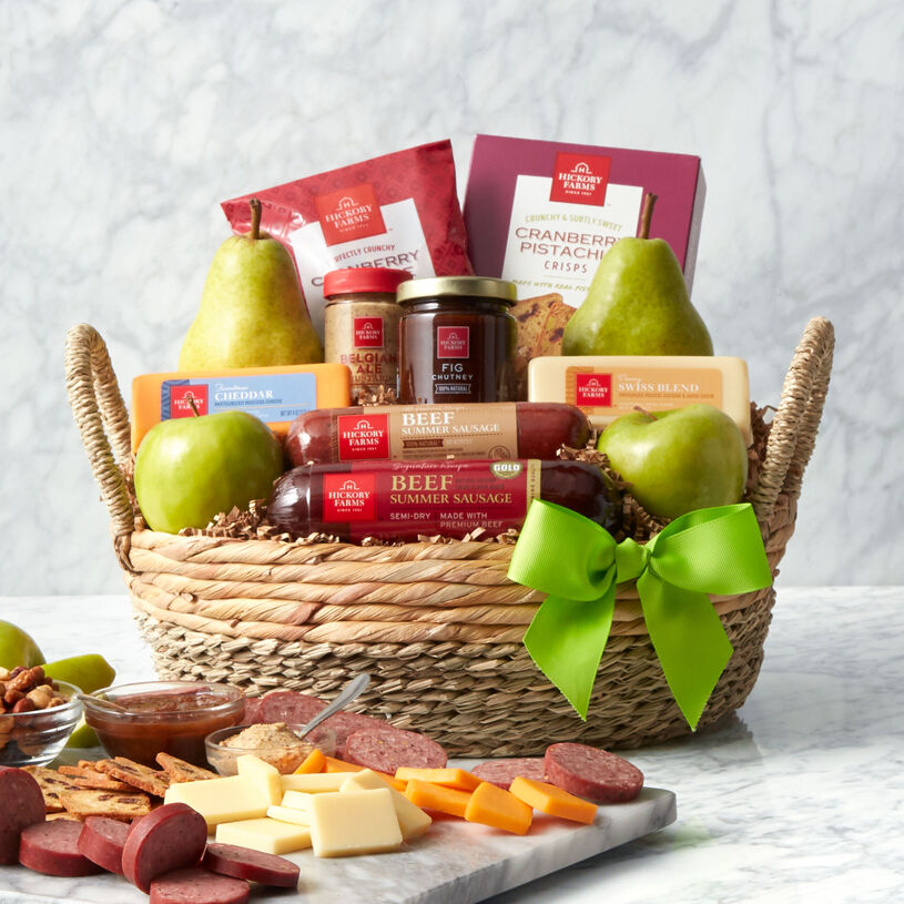 This premium Spring gift basket features our Signature Beef and All-Natural Beef Summer Sausages, cheese, mustard, Fig Chutney, crackers, apples, and pears.