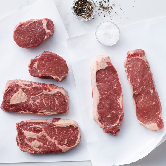 Our complete Steak Assortment includes filets, New York strip steaks, and boneless ribeye steaks