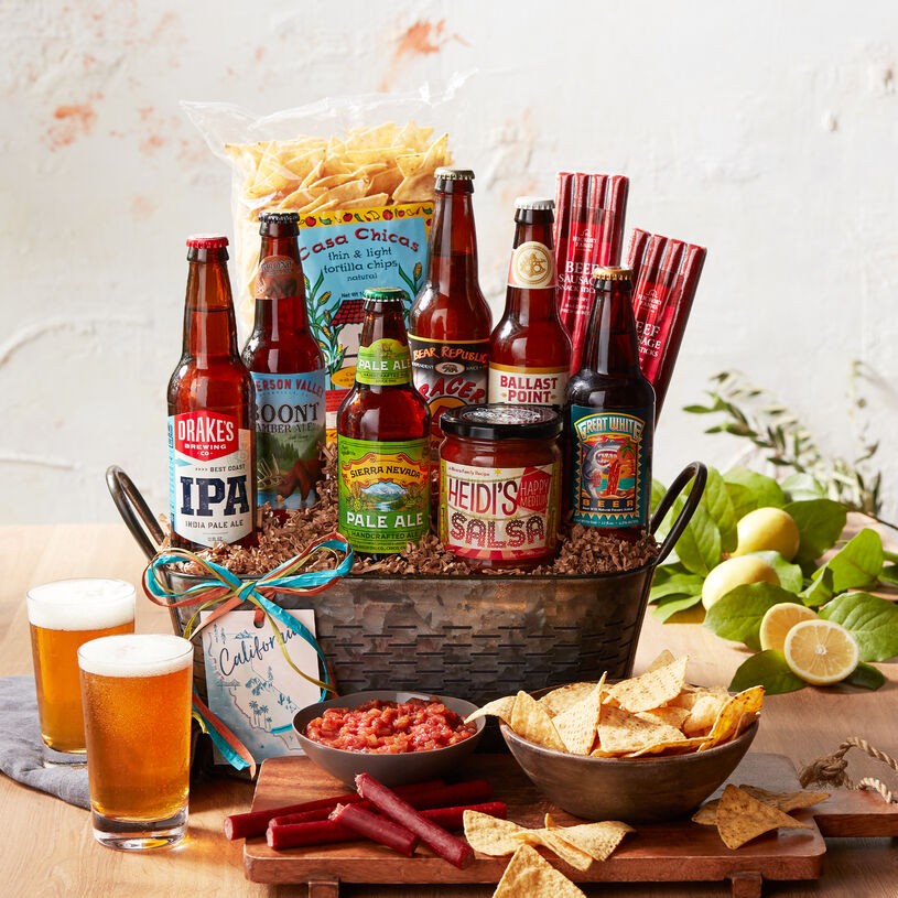 This exclusive craft beer gift basket features a sampling of of beers from California's best breweries.