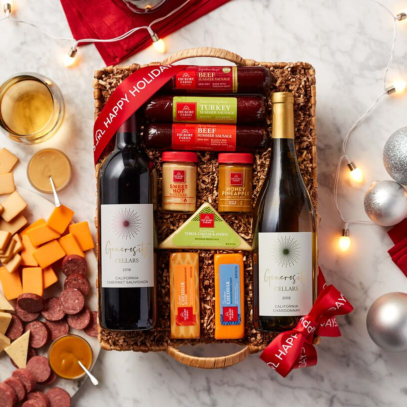 Holiday wine basket filled with summer sausage, cheese, and mustard.