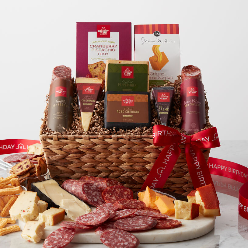Filled with an assortment of four different creamy, natural cheeses alongside two different flavors of dry salami. Truffle Dry Salami, Three Pepper Dry Salami, Apple Smoked Cheddar, Triple Crème, 3-Year Aged Cheddar, and Smoked Pepper Jack that all pair perfectly for many savory combinations.