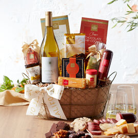 This gourmet food and wine gift basket is filled with favorite Hickory Farms, California snacks and sweets, and Generosity Cellars Chardonnay.
