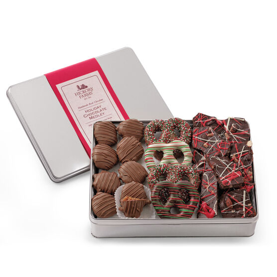 Holiday Chocolate Medley includes pecan clusters, chocolate covered pretzels, and chocolate bark