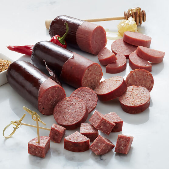 Sausage flight includes beef, turkey, and spicy summer sausage