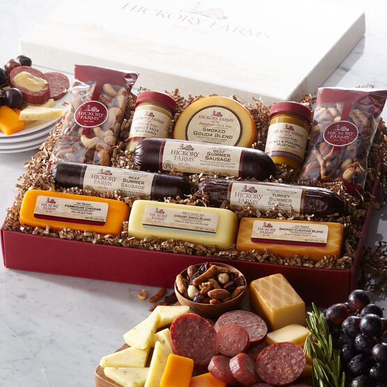 Signature Party Planner Gift Box includes various sausage, cheeses, and nuts