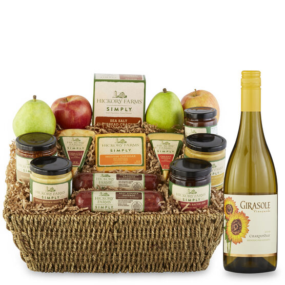 simply gift basket includes all natural sausages, cheeses, mustards, spreads, crackers, and wine