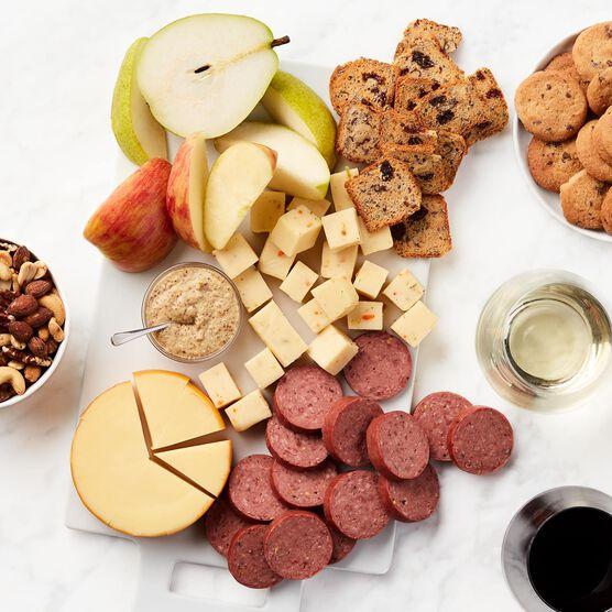 Deluxe Fruit & Wine Gift Basket Charcuterie Spread