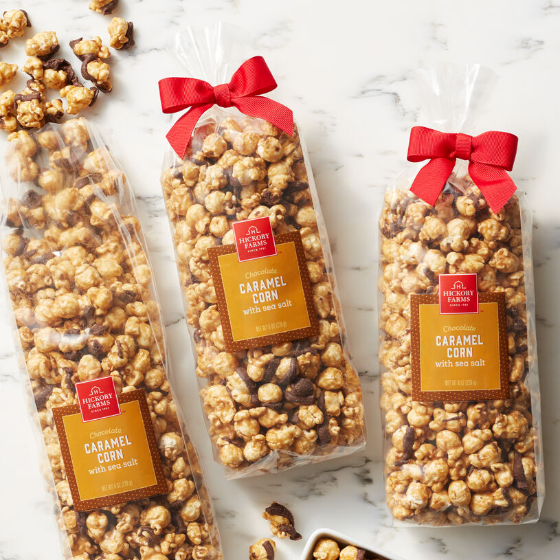 Crispy popcorn coated with sweet caramel, drizzled with decadent chocolate, and gently sprinkled with sea salt.