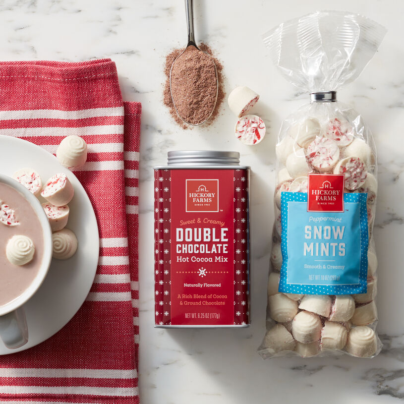 Our Sweet & Creamy Hot Cocoa is extra delicious when you drop in a few of our famous Peppermint Snow Mints.