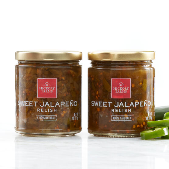 Sweet Jalapeno Relish is made with fresh jalapeños braised with turmeric and ginger, and has the right amount of sweet and spicy to keep you coming back for more.