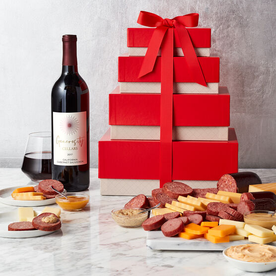 Gourmet Meat & Cheese Gift Tower with Wine Stacked